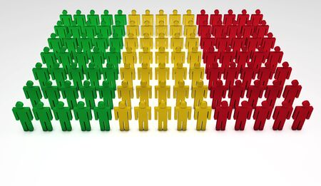 mali: Parade of 3d people forming a top view of Mali flag  With copyspace