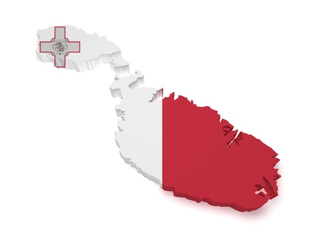Shape 3d of Malta map with flag isolated on white background  photo