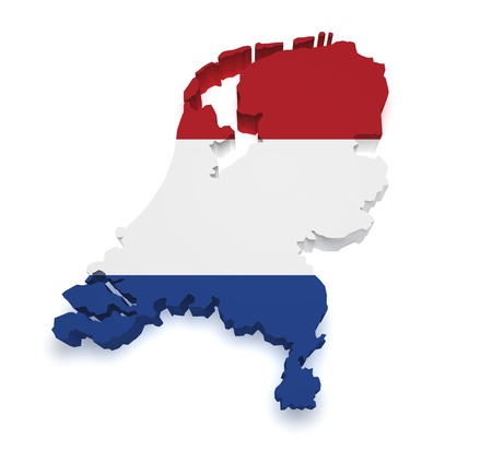 flag of netherlands: Shape 3d of Netherlands map with flag isolated on white background