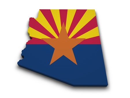 arizona: Shape 3d of Arizona map with flag isolated on white background