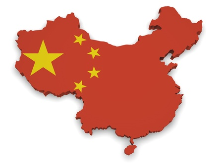 territories: Shape 3d of China map with flag isolated on white background