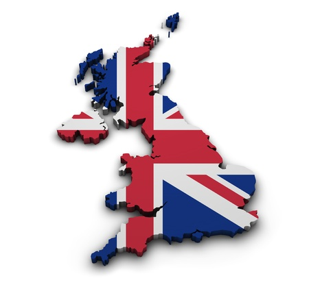 great britain: Great Britain background  Shape 3d of United Kingdom map with flag isolated on white  Stock Photo