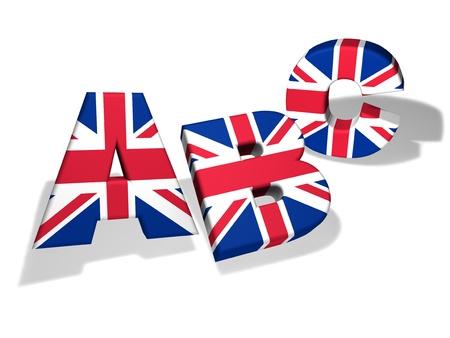 bandiera inglese: Scuola di lingua inglese e concetto di istruzione con le lettere Abc ed i colori della bandiera del Regno Unito su sfondo bianco Archivio Fotografico
