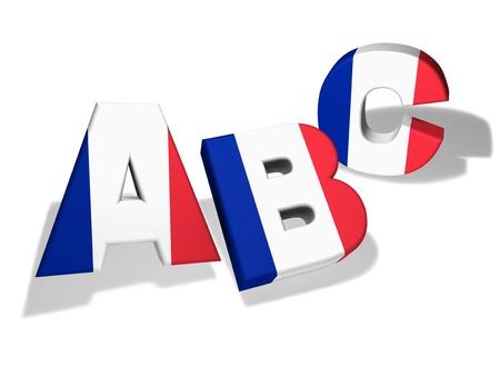 bandera francia: Escuela de franc�s y el concepto de la educaci�n con el Abc letras y los colores de la bandera de Francia en el fondo blanco Foto de archivo