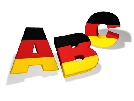 language school: German language school and education concept with the letters Abc and the colors of Germany