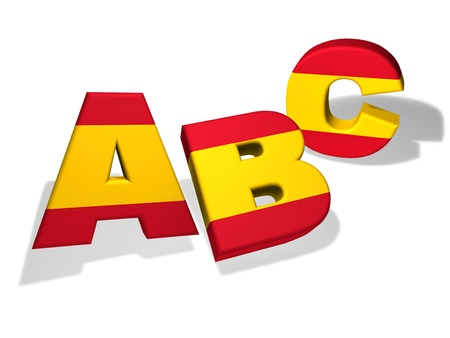 grammar: Spanish language school and education concept with the letters Abc and the colors of Spain flag on white background