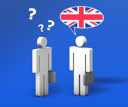 drapeau anglais: Business concept anglais avec une conversation dr�le entre deux personnes 3d sur fond bleu L'homme avec le drapeau sur le nuage discours parle une langue correcte, l'autre avec un point d'interrogation doesn Banque d'images