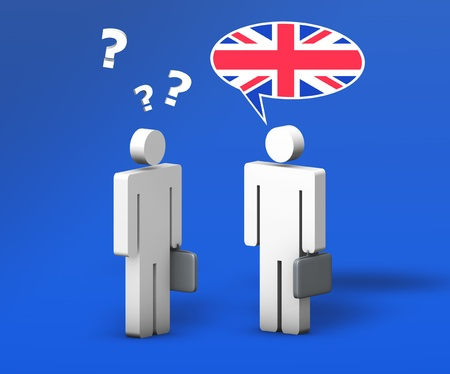 english flag: Business English concept with a funny conversation between two 3d people on blue background  The man with the flag on the speech cloud speaks a correct language, the other one with question mark doesn
