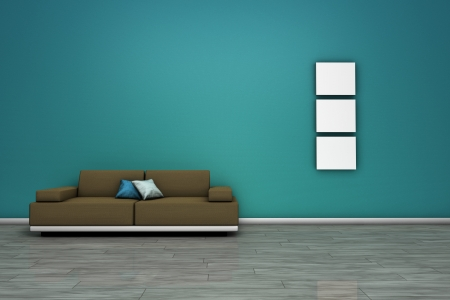 frontal views: Frontal view of a living room with modern sofa, wooden floor and blank frames with empty space on wall