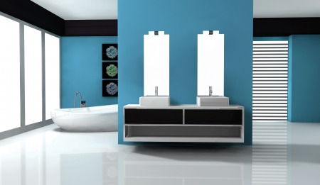Home interior of a bathroom with contemporary design and furniture colored in blue aquamarine and black, 3d rendering Stock Photo - 17991797