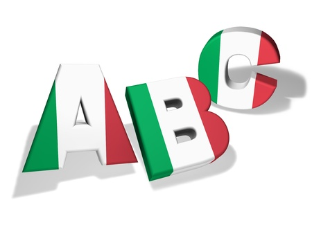 italian PEOPLE: Italian language school and education concept with the letters ABC and the Italy flag colours on white background  Stock Photo