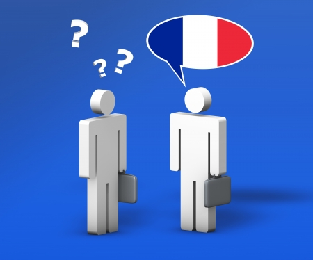 student travel: Business French concept with a funny conversation between two 3d people on blue background  The man with the flag of France on the speech cloud speaks a correct language, the other one with question mark no  Stock Photo