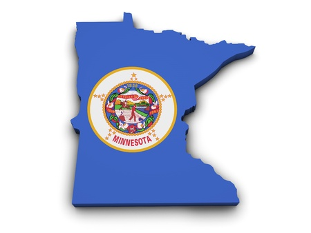 Shape 3d of Minnesota state map with flag isolated on white background  photo