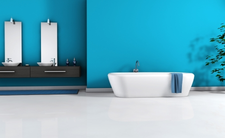 Home interior view of a contemporary bathroom with modern design and furniture and empty space on wall for your copy, colored in blue cyan, black and white floor, 3d rendering