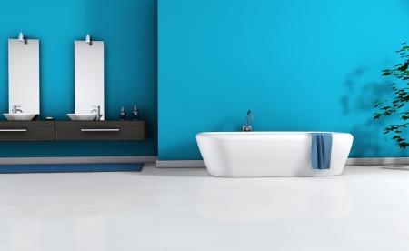 Home interior vista de un ba�o moderno con un dise�o moderno y mobiliario y el espacio vac�o en la pared para su copia, de color azul cian, suelo negro y blanco, representaci�n 3D photo
