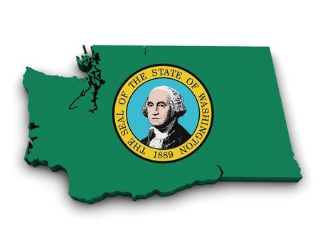 Shape 3d of Washington state map with flag isolated on white background  photo