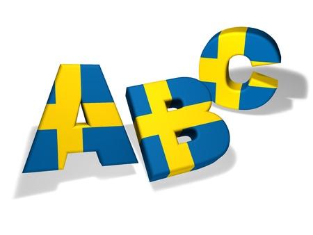 bandera de suecia: Escuela de idiomas sueco y el concepto de la educaci�n con el Abc letras y los colores de la bandera de Suecia sobre fondo blanco