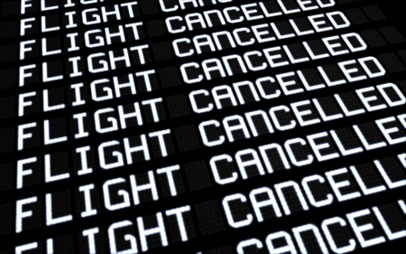 public insurance: Airport terminal departures board showing cancelled flights because of strike  Business travel unforeseen concept, 3d rendering
