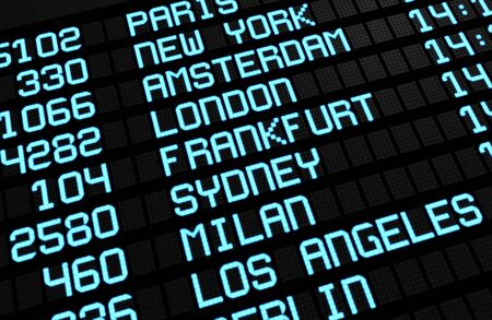 Departures board at airport terminal showing international destinations flights to some of the world photo