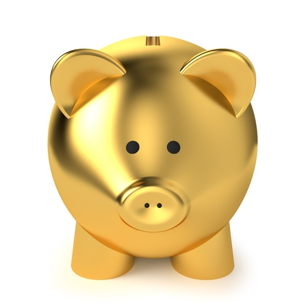 Financial, savings and business concept with a golden piggy bank or money box on white background