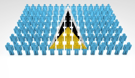 saint lucia: Parade of 3d people forming a top view of Saint Lucia flag  With copyspace