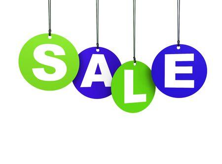 ahorcada: Etiquetas circulares compras ahorcados con la palabra de venta coloreado en verde y azul aislado sobre fondo blanco