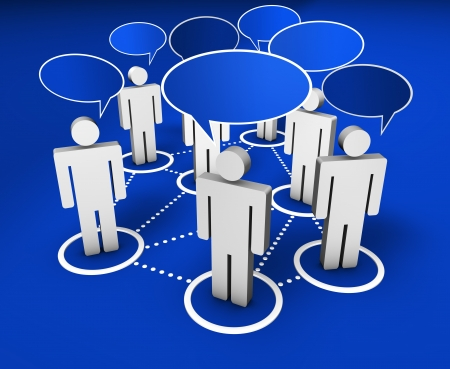 Internet community, social network, forum and online group concept with connection of 3d people by dotted lines with speech clouds on blue background Stock Photo - 18092991