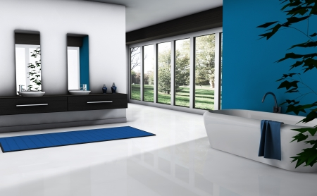 Contemporary bathroom with modern design and furniture, colored in blue and white with park view, 3d rendering  Stock Photo - 18199458