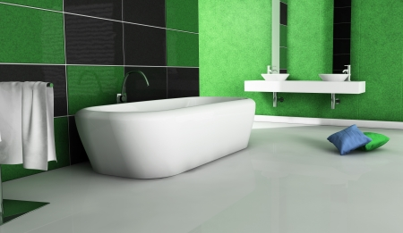 Contemporary bathroom with modern design and furniture, colored in green, black and white, 3d rendering Stock Photo - 18199456