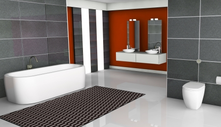 Home interior of a red modern bathroom with contemporary design, windows, white floor and granite tiles, 3d rendering  photo