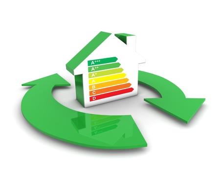 Uni�n Europea etiquetas energ�ticas y concepto las clases con un icono en forma de casa y servicios s�mbolo verde flechas Foto de archivo