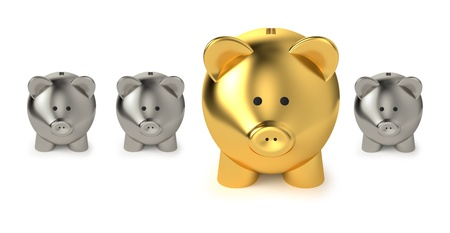 good investment: Financial, savings and investment business concept with a big golden piggy bank or money box between three smaller on white background  Stock Photo