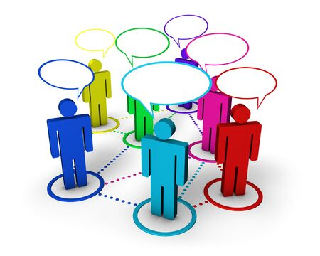 Internet community, social network, forum and online group concept with connection of 3d colorful people by dotted lines with speech clouds on white background  photo