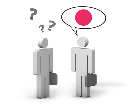 language school: Business Japanese concept with a funny conversation between two 3d people on white background  The man with the Japan flag on the speech cloud speaks a correct language, the other one no