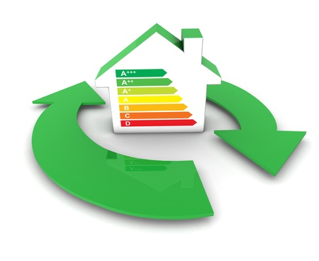 European Union energy labels and classes concept with a home shaped icon and green services arrows symbol  photo