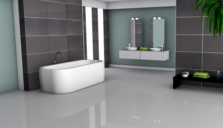 Home inter of a modern bathroom with granite tiles and contemporary design 3d rendering  Stock Photo - 18199531