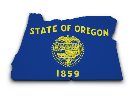 portland oregon: Shape 3d of Oregon state map with flag isolated on white background  Stock Photo