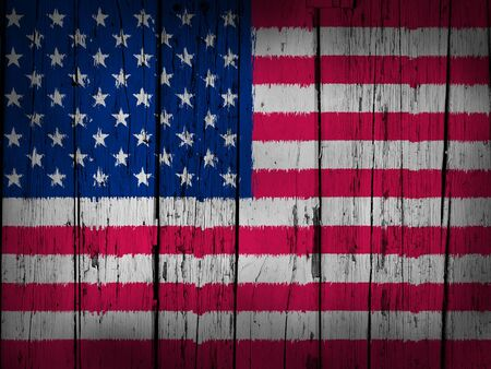 United States Of America grunge art background with usa flag painted on wooden aged wall Stock Photo - 18199521