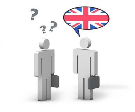 Business English concept with a funny conversation between two 3d people on white background  The man with the UK flag on the speech cloud speaks a correct language, the other one no