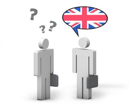 Concepto de Ingl�s de negocios con una conversaci�n divertida entre dos personas 3d en el fondo blanco El hombre con la bandera del Reino Unido en la nube del discurso habla un lenguaje correcto, el otro no