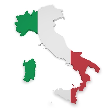 Shape 3d of Italian flag and map isolated on white background  photo