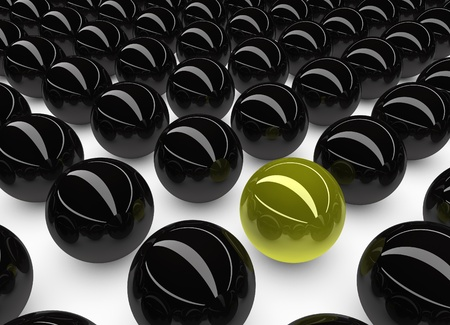 soltería: Unicidad y concepto excepcional representada por única esfera de color amarillo No Foto de archivo