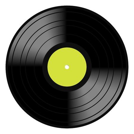 Imagen vectorial de una época y analógica disco LP 33 RPM disco de vinilo con etiqueta verde en blanco central para la copia de música aislado en blanco Foto de archivo - 18850929
