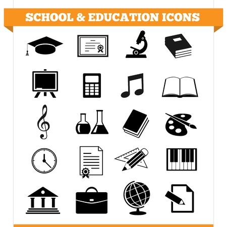 conjunto de iconos de la escuela y la educación y elementos de diseño para la universidad, academia u otra institución educativa Ilustración sobre fondo blanco
