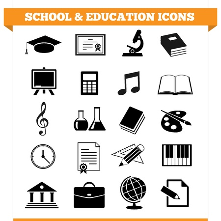 set of school and education icons and design elements for college, academy or other educational institution  Illustration on white background  Vector