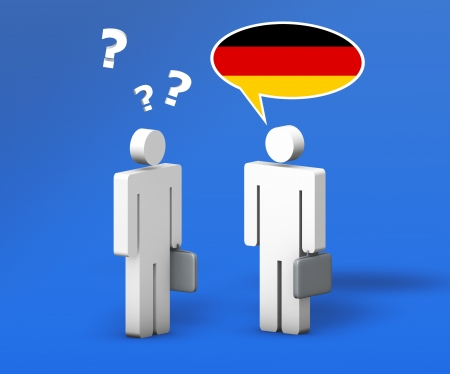 Business German concept with a funny conversation between two 3d people on blue background  The man with the flag of Germany on the speech cloud speaks a correct language, the other one no