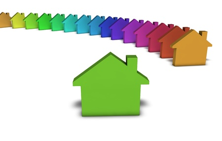 Green house services and real estate concept with a row of colorful home icons on white background Stock Photo - 19090009