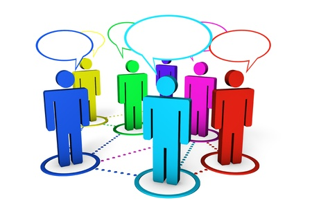 forums: Internet community, blog, on line forum and social networking concept with connection of colorful 3d people by dotted lines on white background  Stock Photo