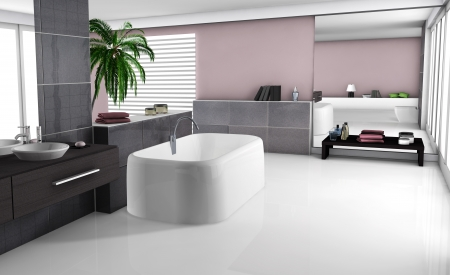 bathroom design: Modern home interior of a luxury bathroom with contemporary furniture and design, white floor and black granite tiles  No brandnames objects