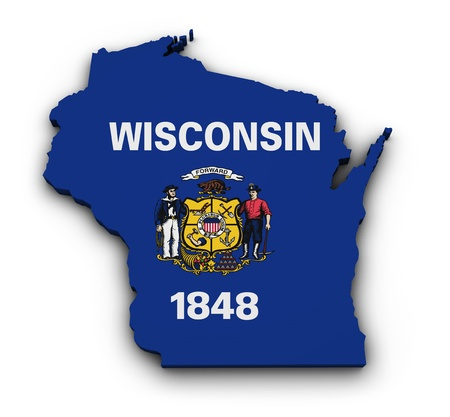 wisconsin flag: Shape 3d of Wisconsin map with flag isolated on white background  Stock Photo